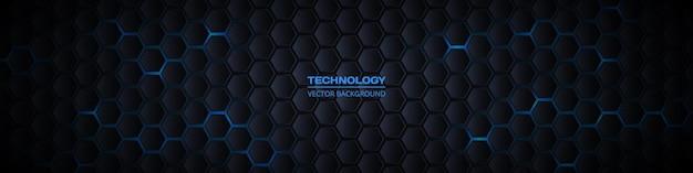 Dunkles breites sechseckiges d abstraktes technologiebanner