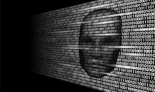Dunkles gesicht der robotergefahr der künstlichen intelligenz des hackers, cyborg