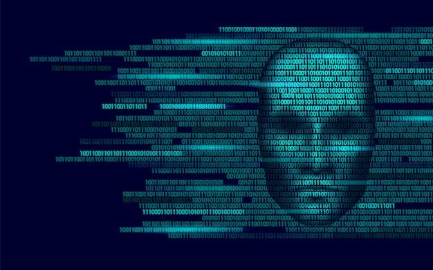 Dunkles gesicht der robotergefahr der künstlichen intelligenz des hackers