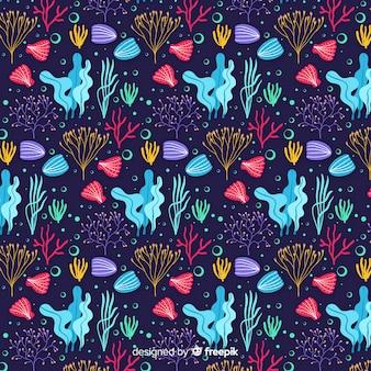 Dunkles handgezeichnetes korallenmuster