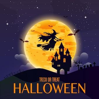 Dunkles haus auf blauem vollmond. hexe fliegt über den mond. fröhliches halloween. vektorillustration.