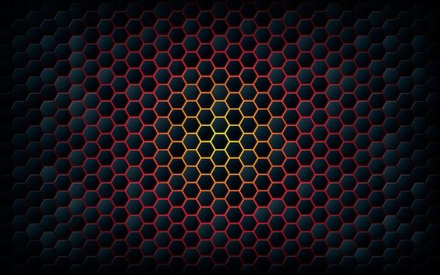 Dunkles hexagon mit hellem feuerhintergrund