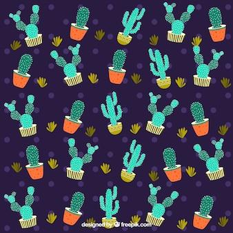 Dunkles kaktusmuster