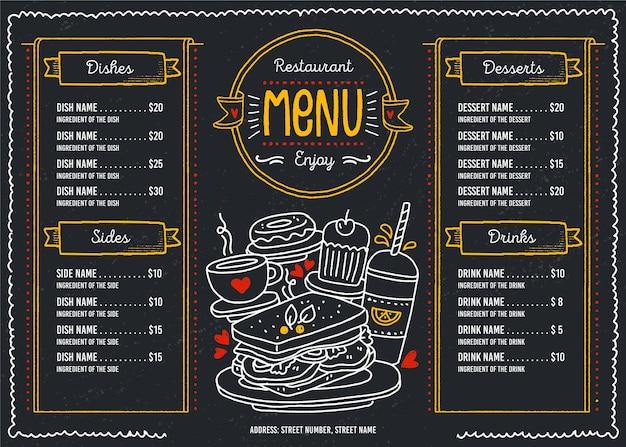 Dunkles restaurantmenü für digitale plattform im querformat