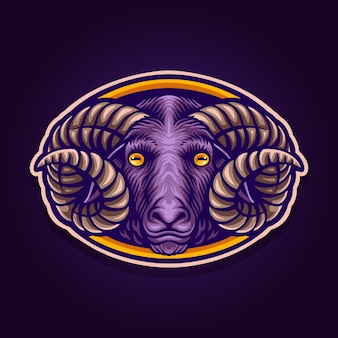 Dunkles schaf-maskottchen-logo