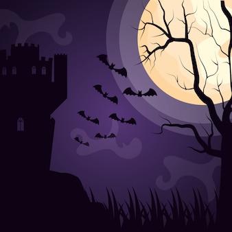 Dunkles schloss halloweens mit dem schlägerfliegen