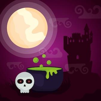 Dunkles schloss halloweens mit großem kessel