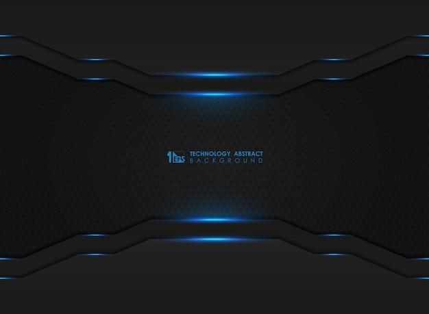 Dunkles sechseck der modernen technologie mit blauen lasern bedecken hintergrund.