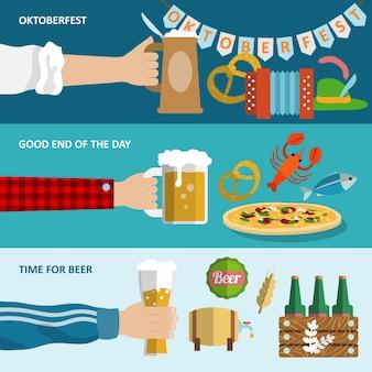 Dunkles und helles bier oktoberfest horizontale banner gesetzt isoliert vektor-illustration.