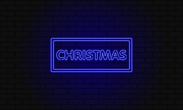 Dunkles web-banner für weihnachten. moderne neonblaue plakatwand auf backsteinmauer.