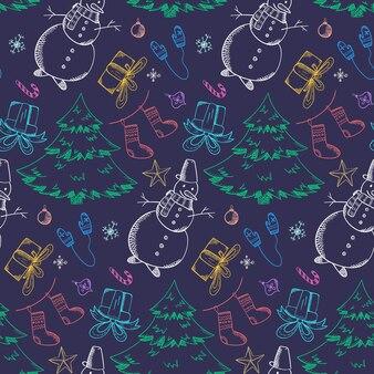 Dunkles weihnachtsmuster mit hellen umriss-doodles