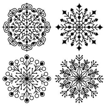 Durchbrochene schneeflocken-mandala, schwarze schablone, isolierte vektorgrafik auf weißem hintergrund