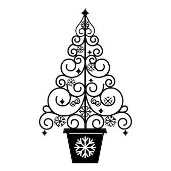 Durchbrochener weihnachtsbaum, schwarze schablone, isolierte vektorgrafik auf weißem hintergrund.