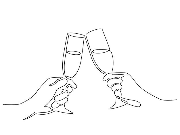 Durchgehende linie champagner prost. hände, die mit weingläsern mit getränken rösten. lineare leute feiern weihnachts- oder geburtstagsvektor. illustration kontinuierliche zeichnung champagner, alkoholgetränk toast