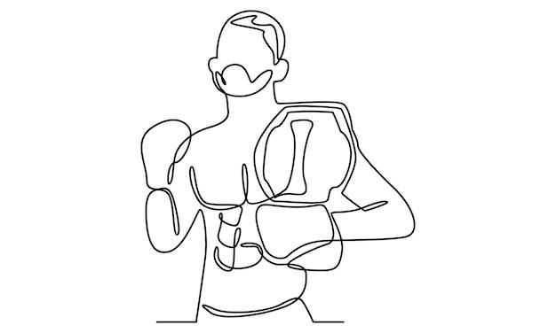 Durchgehende linie der box-charakterillustration