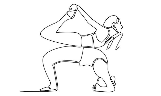 Durchgehende linie der frau, die yogaübungen illustration macht
