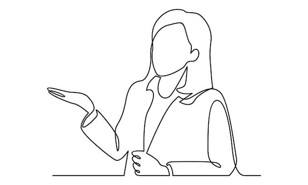 Durchgehende linie der geschäftsfrau-illustration