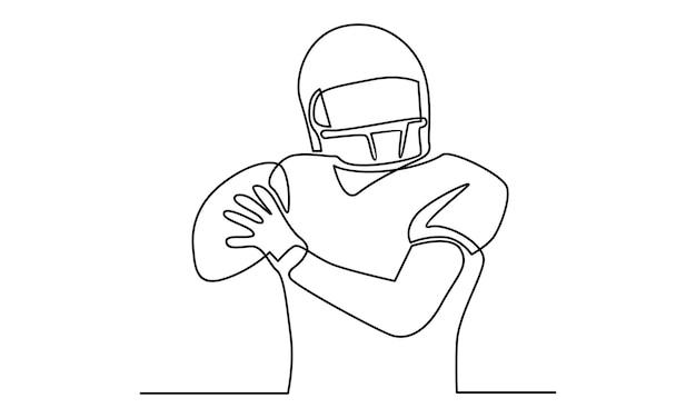 Durchgehende linie der illustration des amerikanischen fußballspielers