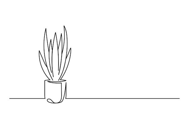 Durchgehende linie mit blume in einem topf