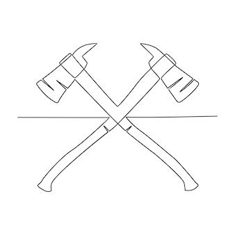 Durchgehende linienzeichnung axt-vektor-illustration