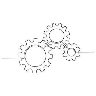Durchgehende linienzeichnung von zahnrädern zahnräder werden durch eine einzelne linie auf weißem hintergrund gezeichnet