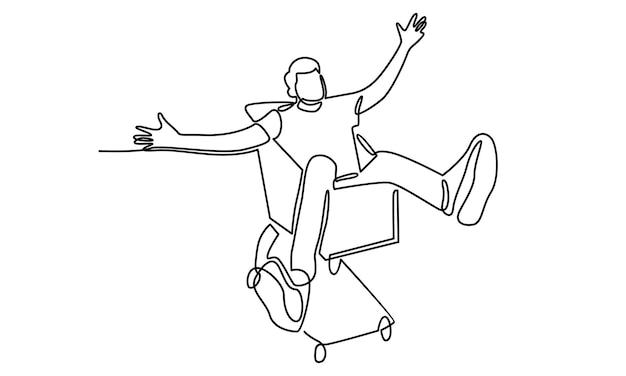 Durchgehende menschenlinie mit einkaufsdiagrammillustration