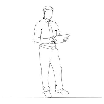 Durchgehende strichzeichnung der geschäftsperson-vektorillustration