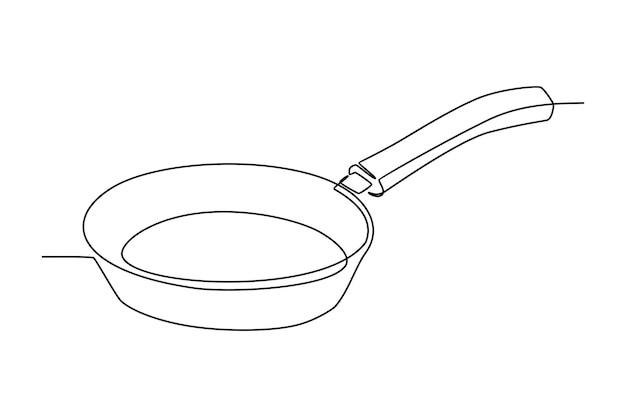 Durchgehende strichzeichnung der kochpfanne-vektorillustration
