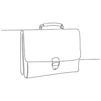 Durchgehende strichzeichnung der ledernen bürotasche-vektorillustration