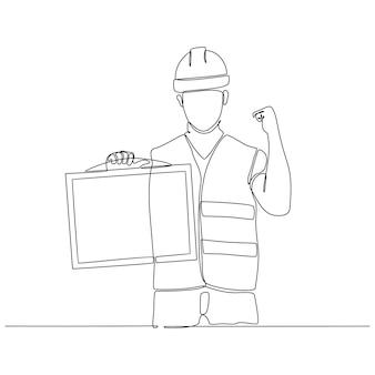 Durchgehende strichzeichnung des bauarbeiters mit informationstafel-vektorillustration