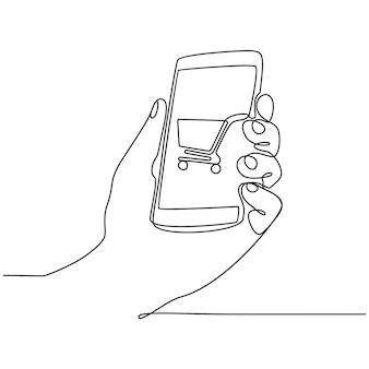 Durchgehende strichzeichnung des mobiltelefons online-shopping