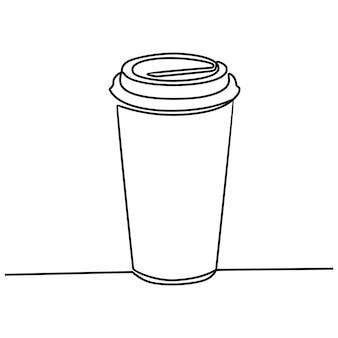 Durchgehende strichzeichnung des trinkens in papier- oder plastikbechern mit deckeln und strohhalmenvektor