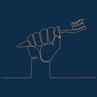 Durchgehende strichzeichnung einer hand, die eine zahnbürstenvektorillustration hält