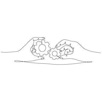 Durchgehende strichzeichnung einer hand mit einer zahnradvektorillustration