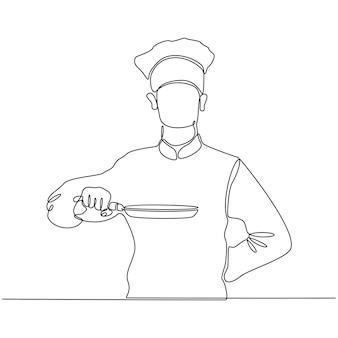 Durchgehende strichzeichnung eines kochs, der eine bratpfanne-vektorillustration hält
