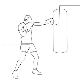 Durchgehende strichzeichnung eines mannes, der boxvektor übt