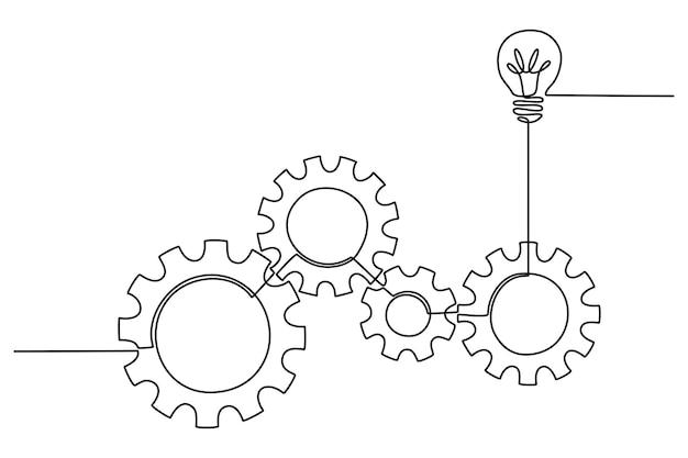 Durchgehende strichzeichnung von zahnrädern und lichterideen-vektorillustration