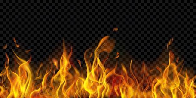 Durchscheinende feuerflammen und funken mit horizontaler wiederholung auf transparentem hintergrund
