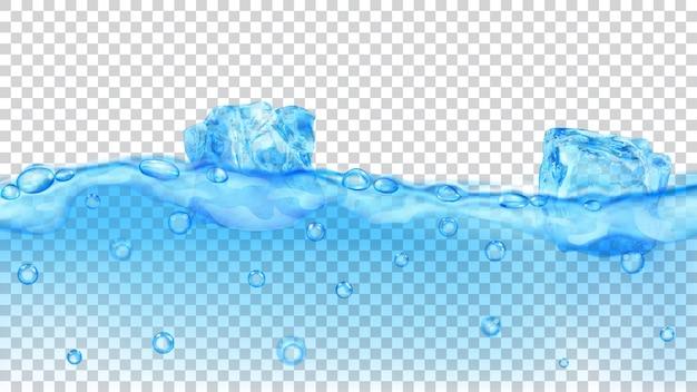 Durchscheinende hellblaue eiswürfel und viele luftblasen, die im wasser auf transparentem hintergrund schwimmen. transparenz nur im vektorformat