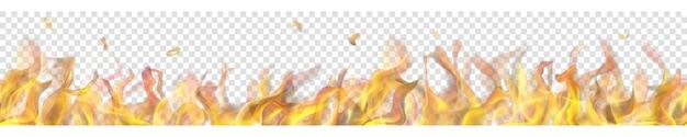 Durchscheinende lange feuerflamme mit horizontaler nahtloser wiederholung auf transparentem hintergrund. für den einsatz auf hellen hintergründen. transparenz nur im vektorformat
