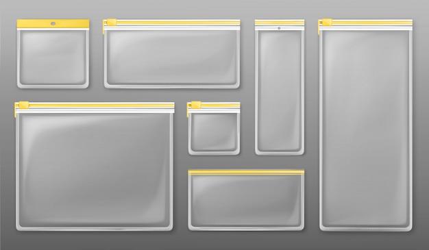 Durchsichtige reißverschlusstaschen aus kunststoff mit gelbem reißverschluss