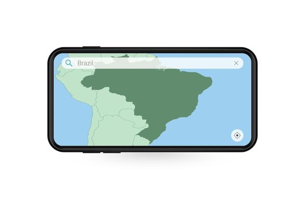 Durchsuchen der karte von brasilien in der smartphone-kartenanwendung. karte von brasilien im handy.