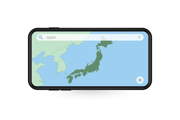 Durchsuchen der karte von japan in der smartphone-kartenanwendung. karte von japan im handy.