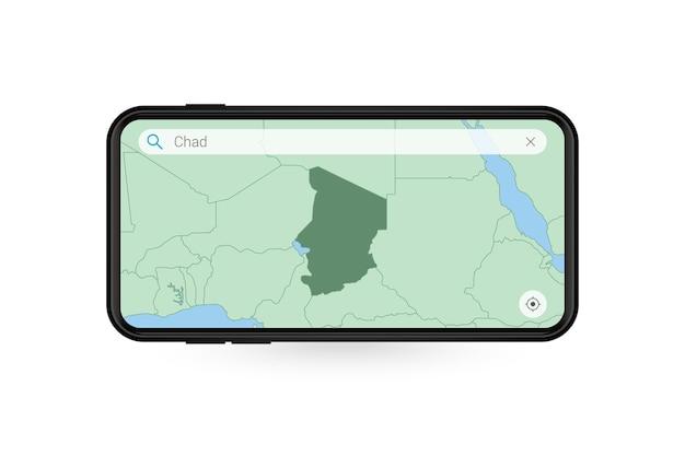 Durchsuchen der karte von tschad in der smartphone-kartenanwendung. karte von tschad im handy.