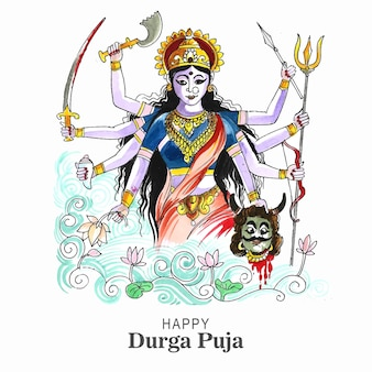 Durga puja festival grußkarte hintergrund