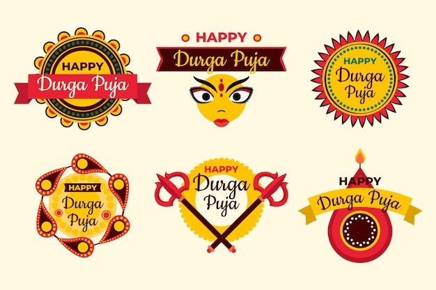 Durga puja festival labels