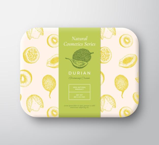 Durian bad kosmetik paket box abstrakter vektor verpackter papierbehälter mit etikettenabdeckung verpackung...