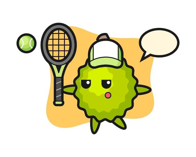 Durian cartoon als tennisspieler