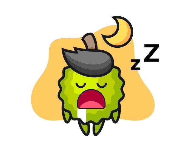 Durian cartoon, der nachts schläft