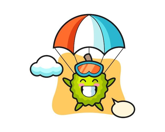 Durian cartoon ist fallschirmspringen mit fröhlicher geste